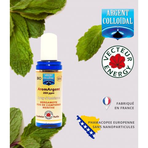 Parfum d'ambiance à l'argent colloïdal dosé à 200ppm en 100ml - Bergamote / Bois de Camphrier / Menthe